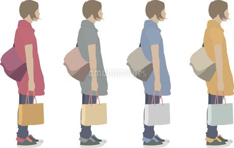 女性(横)1人-色変えのイラスト素材 [FYI03061247]
