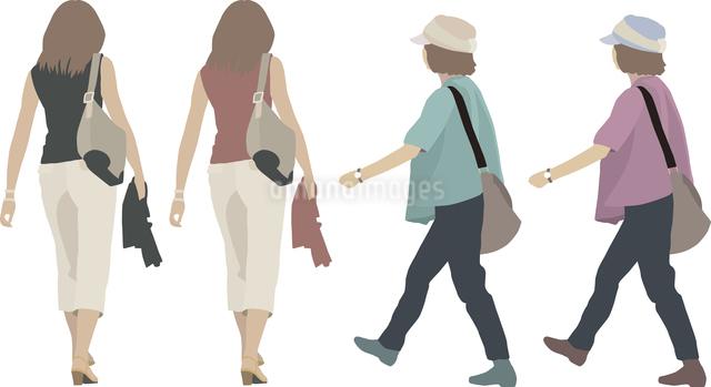 女性(後・横)2人-色変えのイラスト素材 [FYI03061253]