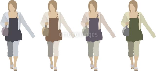 若い女性(前)1人-色変えのイラスト素材 [FYI03061254]
