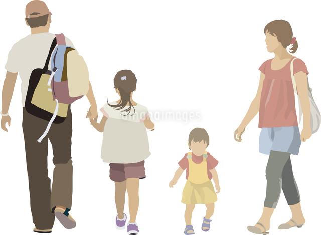 手を繋ぐ親子・幼児(4人)のイラスト素材 [FYI03061276]