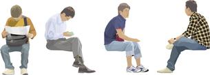 座る男性(4人)のイラスト素材 [FYI03061329]