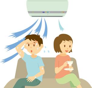 人の体温に合わせて温度調節するエアコンのイラスト素材 [FYI03062727]