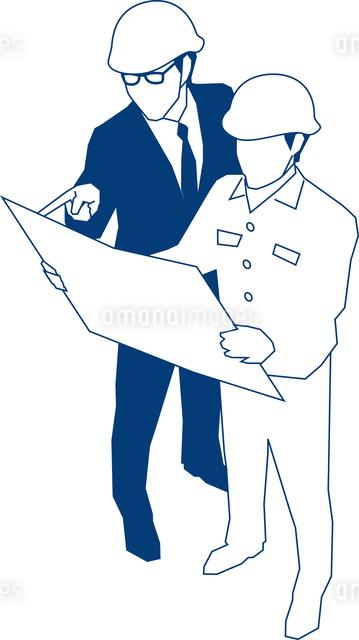 現場監督と図面を確認するビジネスマンのイラスト素材 [FYI03062913]