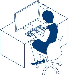 デスクでパソコンに向かうOLのイラスト素材 [FYI03062963]