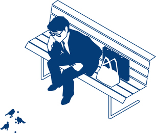 公園のベンチに座るビジネスマンのイラスト素材 [FYI03063071]