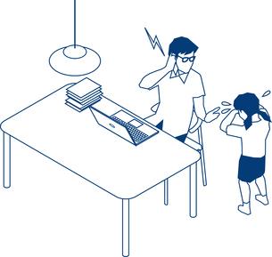 在宅勤務で仕事をするビジネスマンのイラスト素材 [FYI03063128]