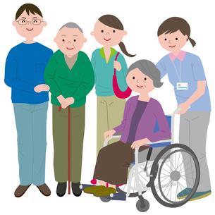 老人と家族と介護職員のイラスト素材 [FYI03063753]