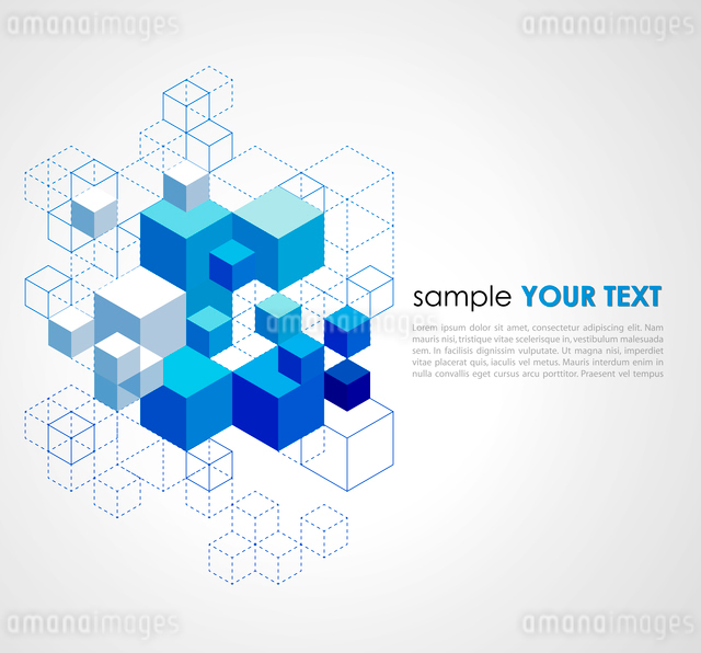 Abstract blue cubes vector background.のイラスト素材 [FYI03064134]