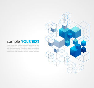 Abstract blue cubes vector background.のイラスト素材 [FYI03064137]