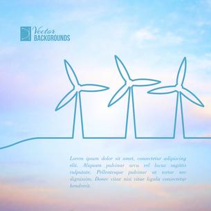 Wind turbines generating electricity. Vector illustration.のイラスト素材 [FYI03064294]