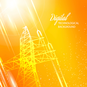 Orange electric power transmission tower. Vector illustration.のイラスト素材 [FYI03064329]