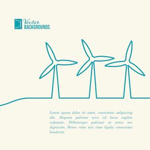 Wind turbines generating electricity. Vector illustration.のイラスト素材 [FYI03064334]