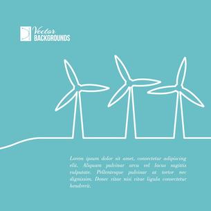 Wind turbines generating electricity. Vector illustration.のイラスト素材 [FYI03064344]