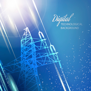 Electric power transmission tower. Vector illustration.のイラスト素材 [FYI03064351]