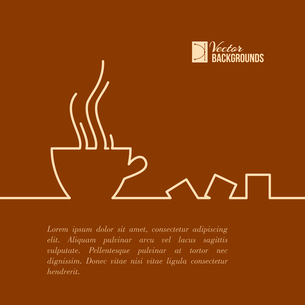 Stylized drawing of a cup of coffee. Vector illustration.のイラスト素材 [FYI03064451]