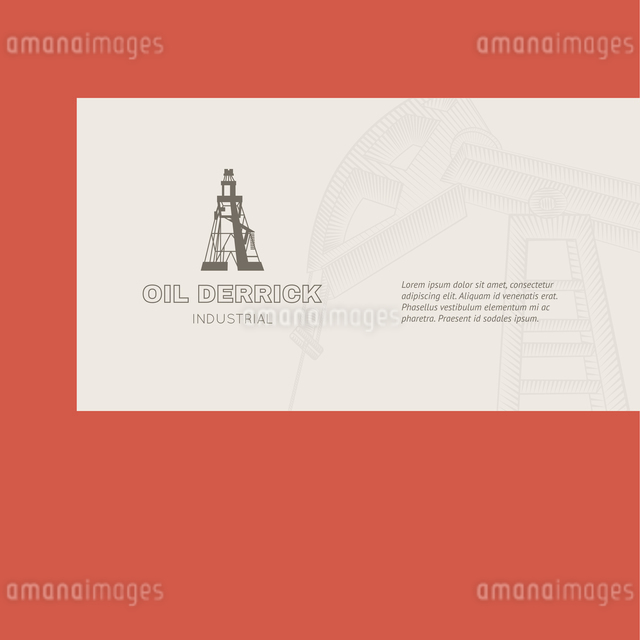 Oil rig card for your business. Vector illustration.のイラスト素材 [FYI03064461]