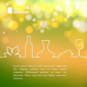 Style line design of vine glass, bottle and grapes. Vector illustration.のイラスト素材 [FYI03064479]