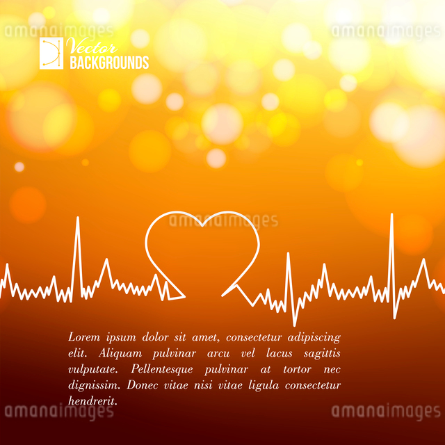 Heart shape ECG line over blurred background. Vector illustration.のイラスト素材 [FYI03064490]