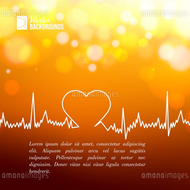 Heart shape ECG line over blurred background. Vector illustration.のイラスト素材 [FYI03064490]