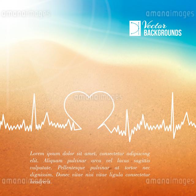 Heart shape ECG line over blurred background. Vector illustration.のイラスト素材 [FYI03064495]