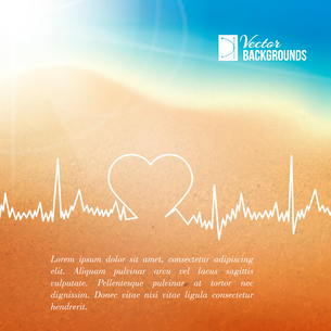 Heart shape ECG line over blurred background. Vector illustration.のイラスト素材 [FYI03064495]