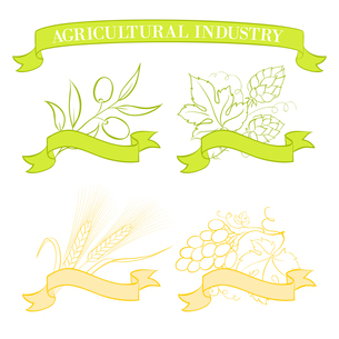 Food emblems and labels, green and yellow over white. Vector illustration.のイラスト素材 [FYI03064505]