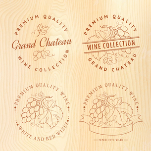 Logo design for wine with grapes. Vector illustration.のイラスト素材 [FYI03064526]