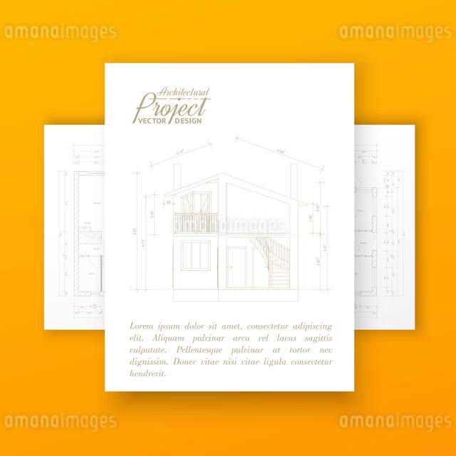 House design over orange wall. Vector illustration.のイラスト素材 [FYI03064552]