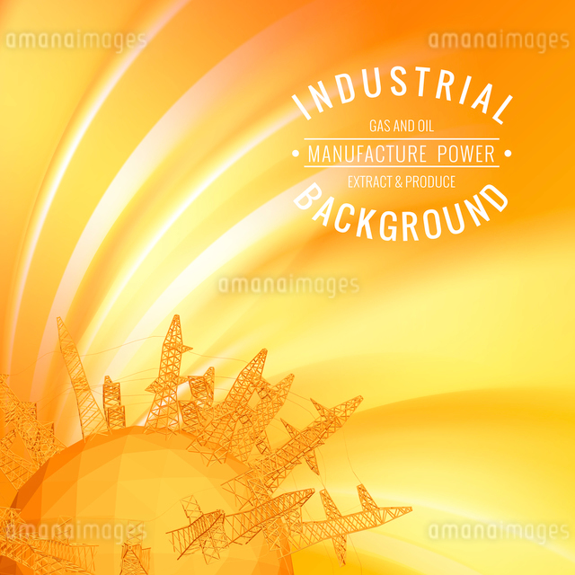 Oil derrick planet over abstract background. Vector illustration.のイラスト素材 [FYI03064633]