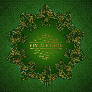 Damask medallion over green background for your vintage card. Vector illustration.のイラスト素材 [FYI03064652]