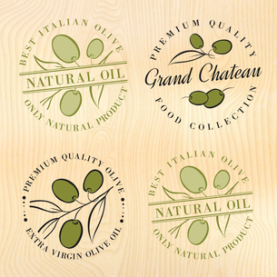 Natural olive oil labels with olive branches. Vector illustration.のイラスト素材 [FYI03064681]