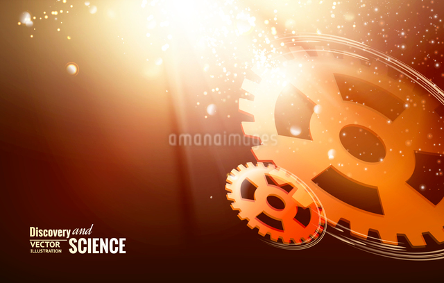 Gear-wheels over lights, rays with dark background. Vector illustration.のイラスト素材 [FYI03064718]