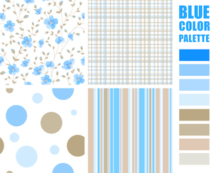 Fabric texture palette with complimentary swatches. Vector illustration.のイラスト素材 [FYI03064772]