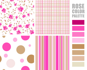 Fabric texture palette with complimentary swatches. Vector illustration.のイラスト素材 [FYI03064774]