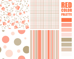 Fabric texture palette with complimentary swatches. Vector illustration.のイラスト素材 [FYI03064775]