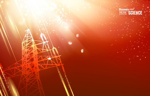 Electric power transmission tower with sparks. Vector illustration.のイラスト素材 [FYI03064786]