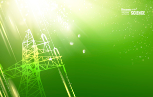 Electric power transmission tower with sparks. Vector illustration.のイラスト素材 [FYI03064787]