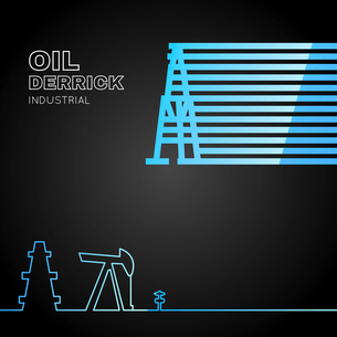 Oil rig icon in line design over dark background. Vector illustration.のイラスト素材 [FYI03064790]