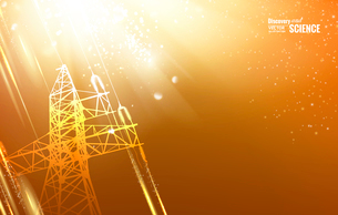 Electric power transmission tower with sparks. Vector illustration.のイラスト素材 [FYI03064792]