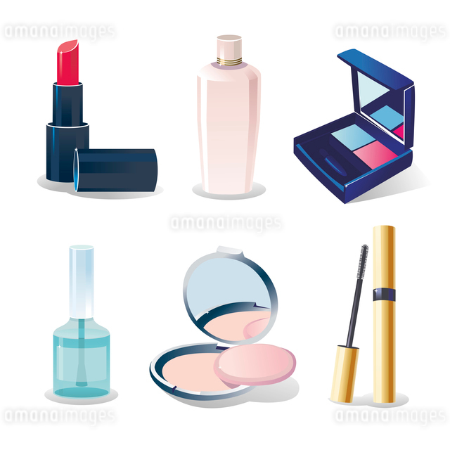 Vector icon set of cosmetic elements on whiteのイラスト素材 [FYI03064898]