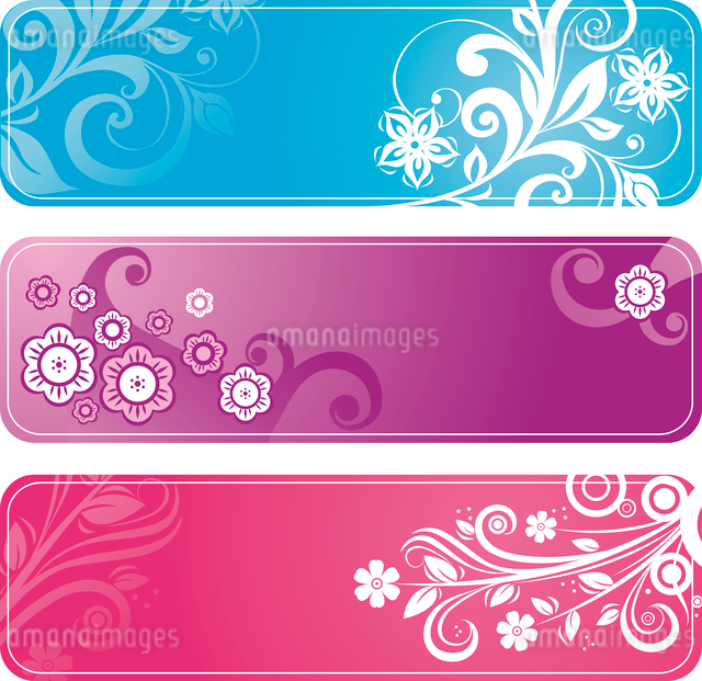 Set of floral bannersのイラスト素材 [FYI03064903]