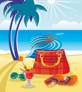 Summer objects on beach backgroundのイラスト素材 [FYI03064959]
