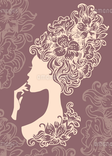 Beautiful woman silhouette with a flowersのイラスト素材 [FYI03064962]