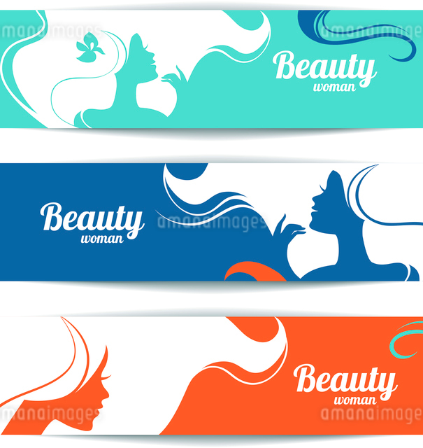 Banners with stylish beautiful woman silhouette. Template design cardsのイラスト素材 [FYI03065221]