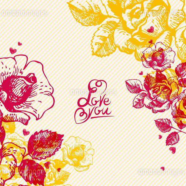 Floral background with hand lettering. Card of Wedding dayのイラスト素材 [FYI03065226]