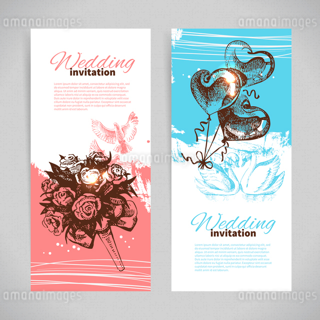Wedding invitations. Banner set of vintage hand drawn wedding backgroundsのイラスト素材 [FYI03065268]