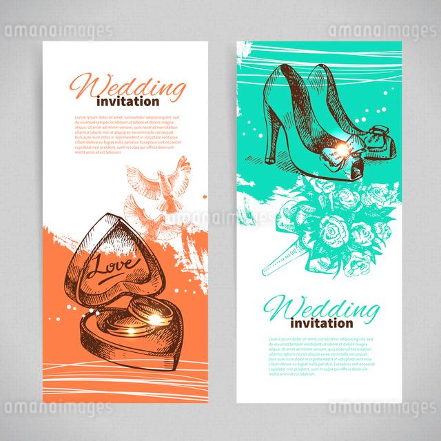 Wedding invitations. Banner set of vintage hand drawn wedding backgroundsのイラスト素材 [FYI03065270]
