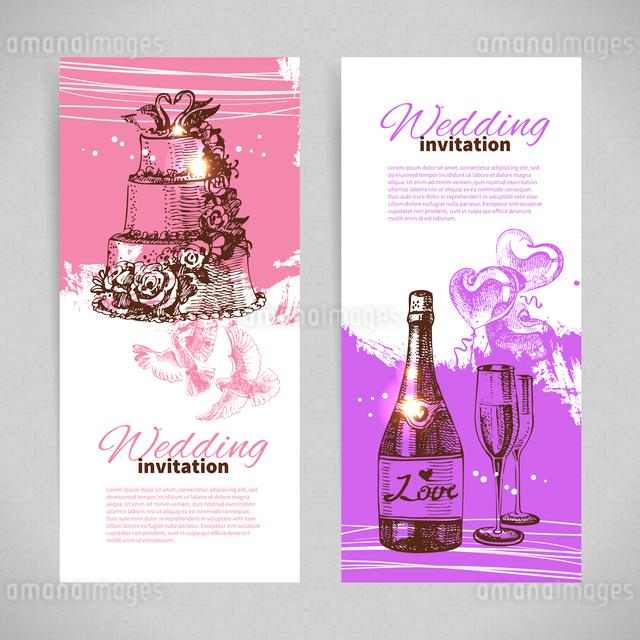 Wedding invitations. Banner set of vintage hand drawn wedding backgroundsのイラスト素材 [FYI03065271]