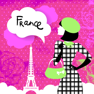 Stylish retro background with shopping woman silhouette in France. Vintage elegant design with handのイラスト素材 [FYI03065276]