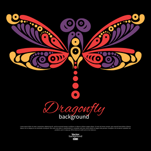 Background with beautiful dragonfly. Tattoo illustrationのイラスト素材 [FYI03065290]